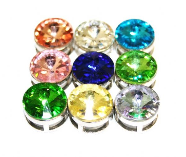 16.5mm Rhodium sliding bead with rhinestone